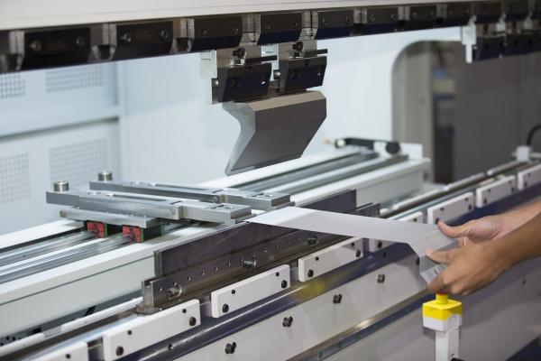 Sheet metal being folded on our Press Brake machine